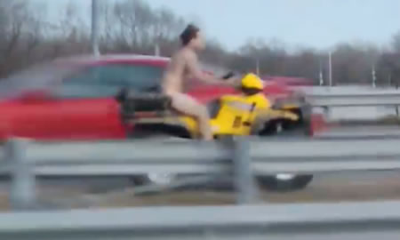 NEW CASTLE, Colo. — Despite the cold, winter temperatures, a man who had been drinking at a local New Castle establishment, decided to disrobe and take a naked ride on his ATV down Interstate 70.